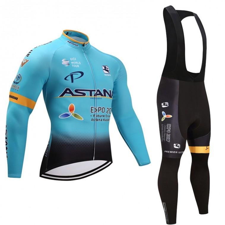 Ensemble cuissard vélo et maillot cyclisme hiver équipe pro Astana 2017