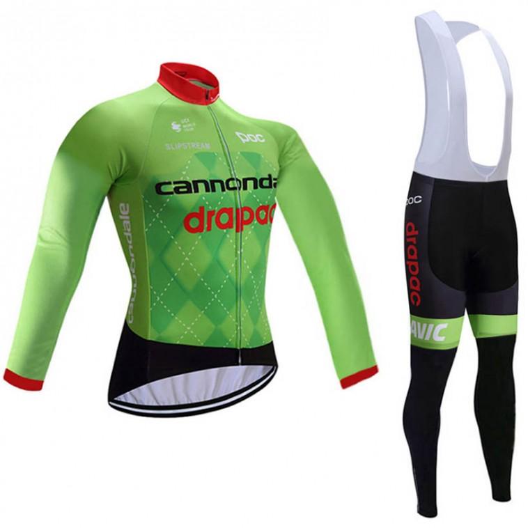 Ensemble cuissard vélo et maillot cyclisme hiver équipe pro Cannondale Drapac