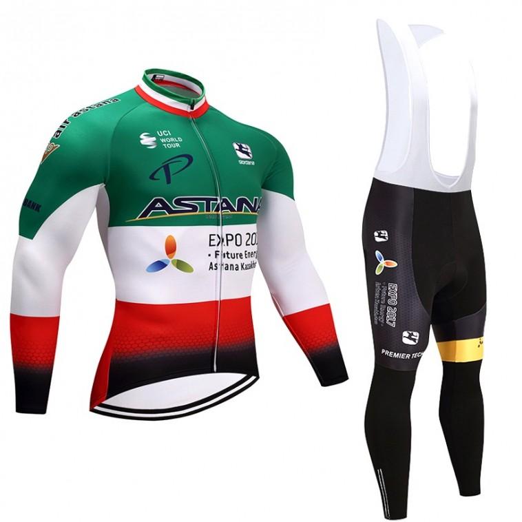 Ensemble cuissard vélo et maillot cyclisme hiver équipe pro Astana 2017 italie