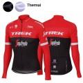 Ensemble cuissard vélo et maillot cyclisme hiver équipe pro Trek Segafredo rouge