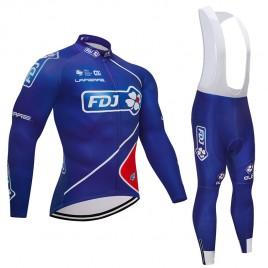 Ensemble cuissard vélo et maillot cyclisme hiver équipe pro FDJ 2018