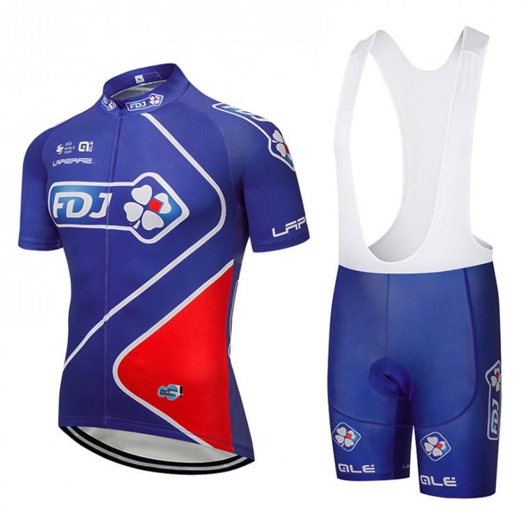 Ensemble cuissard vélo et maillot cyclisme équipe pro FDJ 2018