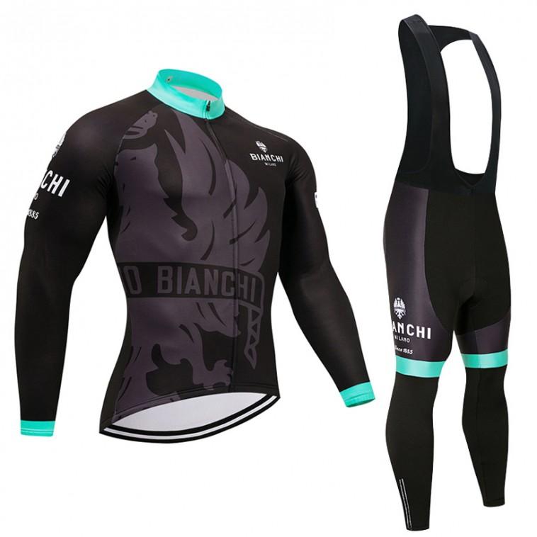 Ensemble cuissard vélo et maillot cyclisme hiver pro Bianchi Milano