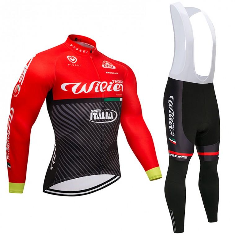 Ensemble cuissard vélo et maillot cyclisme hiver équipe pro Wilier Selle Italia 2017 rouge