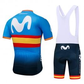 Ensemble cuissard vélo et maillot cyclisme équipe pro Movistar Espagne 2018