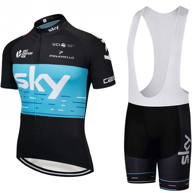 Ensemble cuissard vélo et maillot cyclisme équipe pro SKY 2018 noir