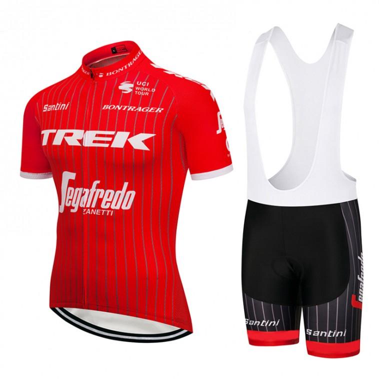 Ensemble cuissard vélo et maillot cyclisme équipe pro Trek 2018 rouge