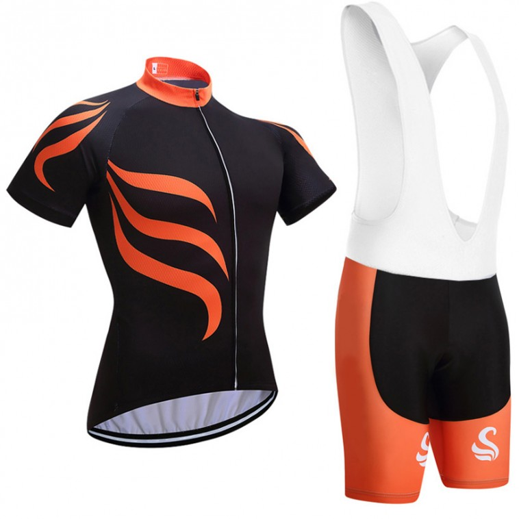 Ensemble cuissard vélo et maillot cyclisme Snovaky 2018 orange