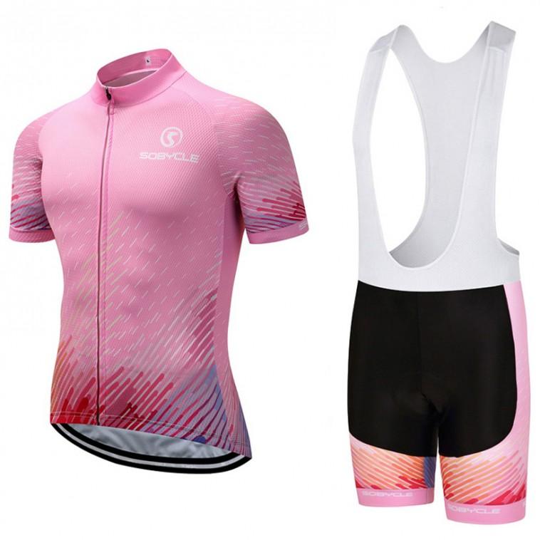 Ensemble cuissard vélo et maillot cyclisme Sobycle Rose 2018