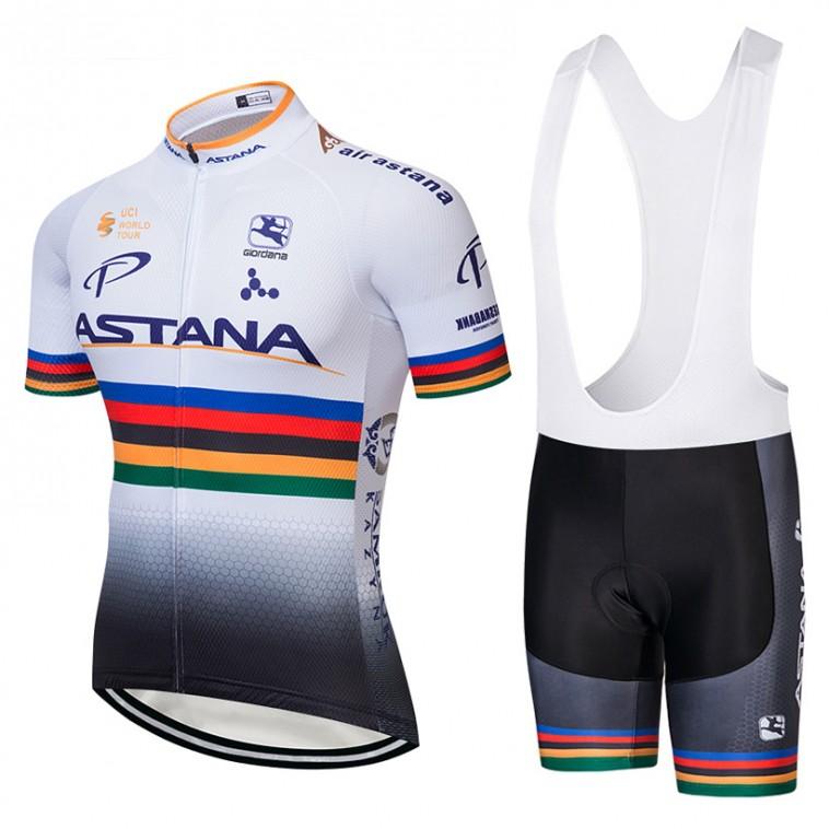 Ensemble cuissard vélo et maillot cyclisme équipe pro Astana UCI 2018