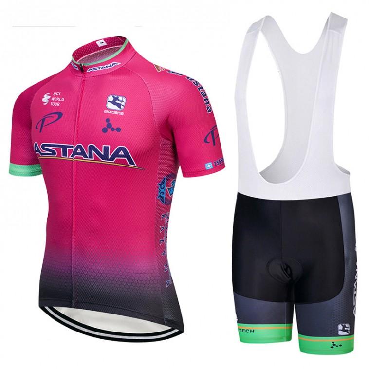 Ensemble cuissard vélo et maillot cyclisme équipe pro Astana Rose 2018