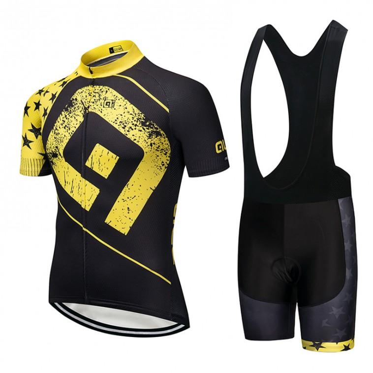 Ensemble cuissard vélo et maillot cyclisme pro ALE Stars jaune 2018