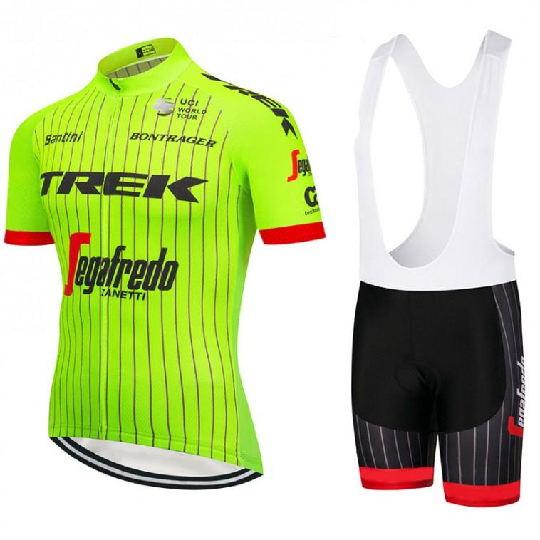 Ensemble cuissard vélo et maillot cyclisme équipe pro Trek 2018 jaune