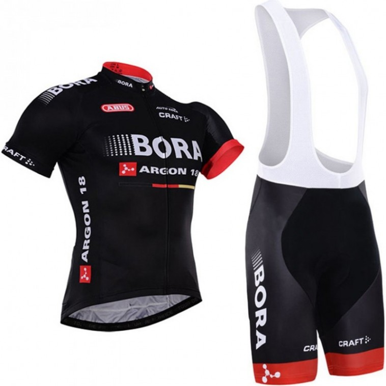 Ensemble cuissard vélo et maillot cyclisme équipe pro Bora Argon