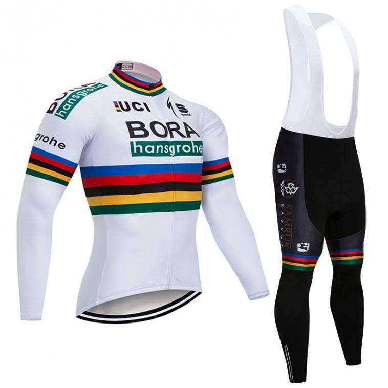 Ensemble cuissard vélo et maillot cyclisme hiver pro BORA UCI 2018