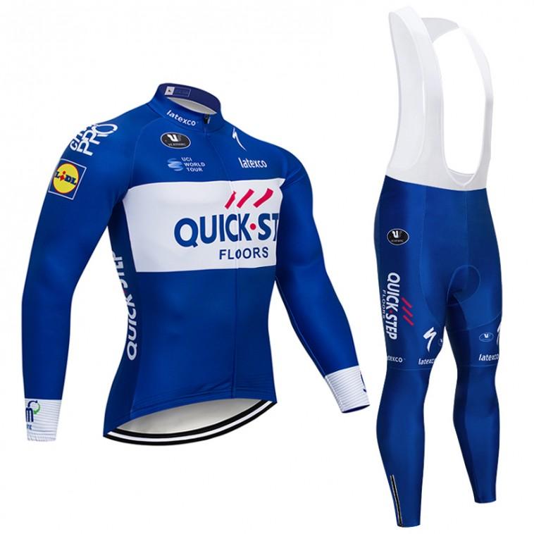Ensemble cuissard vélo et maillot cyclisme hiver pro QUICK STEP 2018
