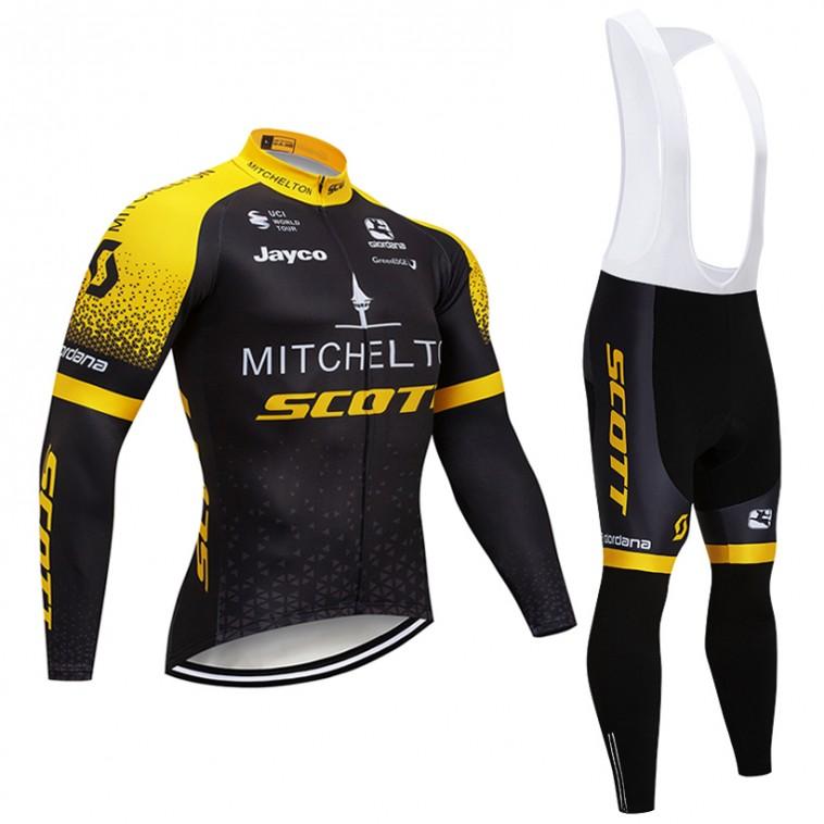 Ensemble cuissard vélo et maillot cyclisme hiver pro Mitchelton Scott 2018