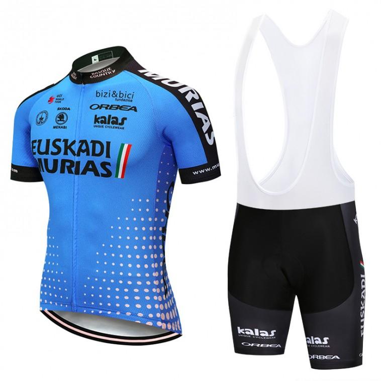 Ensemble cuissard vélo et maillot cyclisme pro EUSKADI Murias 2018 bleu