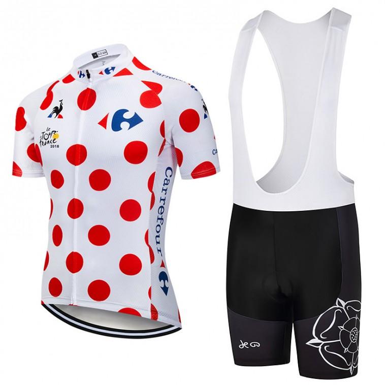 Ensemble cuissard vélo et maillot à Pois Tour de France 2018 Carrefour