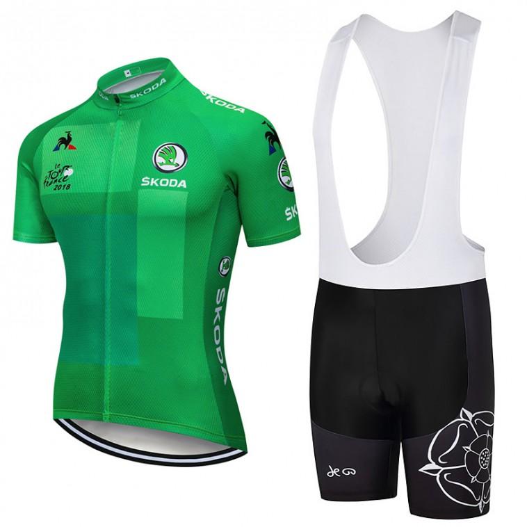 Ensemble cuissard vélo et maillot Vert Tour de France 2018 Skoda