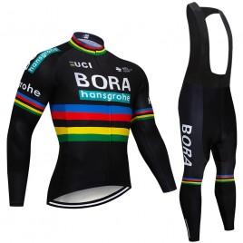 Ensemble cuissard vélo et maillot cyclisme hiver pro BORA UCI BLACK 2018