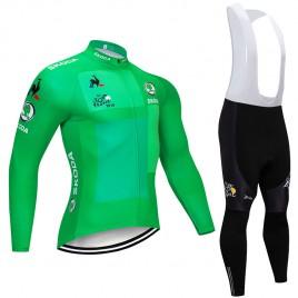 Ensemble cuissard vélo et maillot vert cyclisme hiver pro Tour de France 2018 Skoda