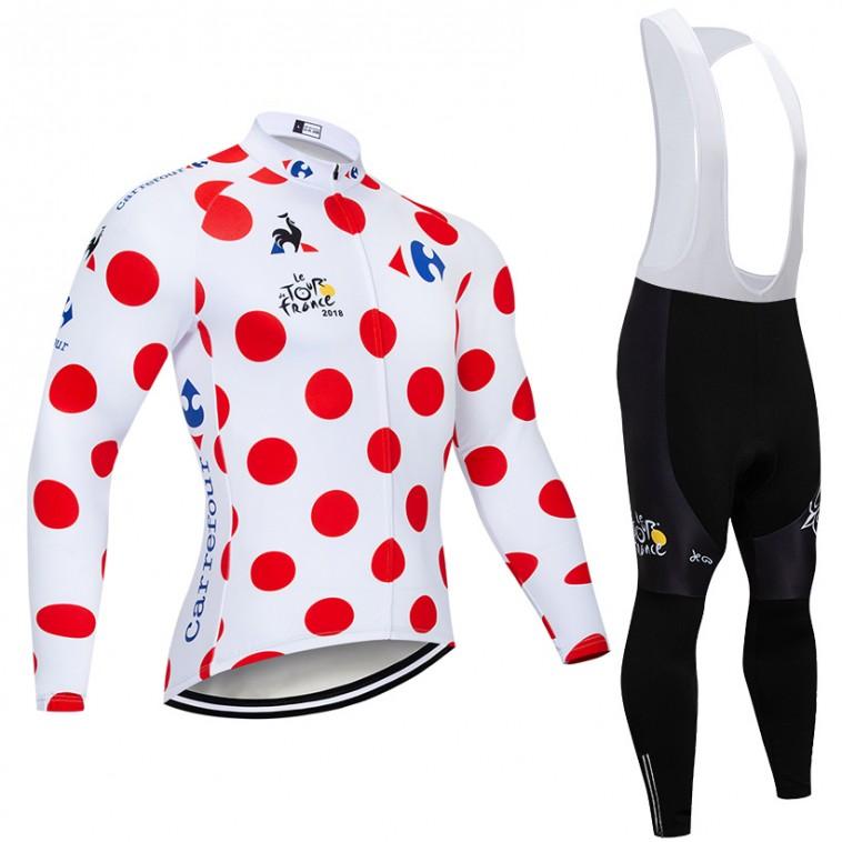 Ensemble cuissard vélo et maillot à Pois cyclisme hiver pro Tour de France 2018 Carrefour