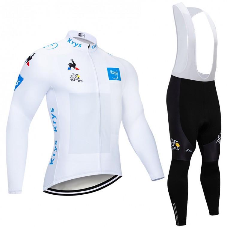Ensemble cuissard vélo et maillot blanc cyclisme hiver pro Tour de France 2018 Krys