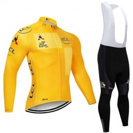 Ensemble cuissard vélo et maillot jaune cyclisme hiver pro Tour de France 2018 LCL