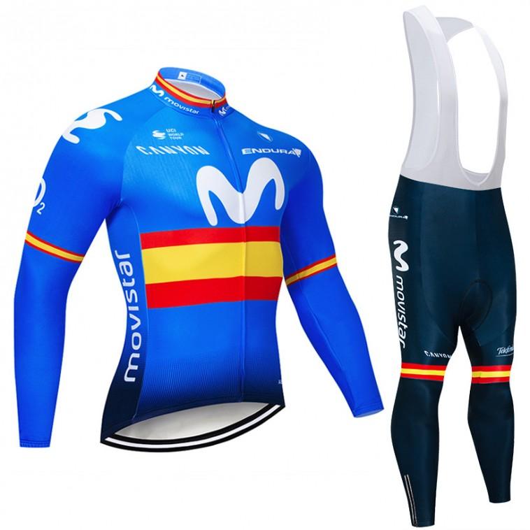 Ensemble cuissard vélo et maillot cyclisme hiver pro Movistar Espagne 2018