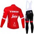 Ensemble cuissard vélo et maillot cyclisme hiver pro Trek Segafredo 2018 rouge