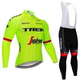 Ensemble cuissard vélo et maillot cyclisme hiver pro Trek Segafredo 2018 fluo