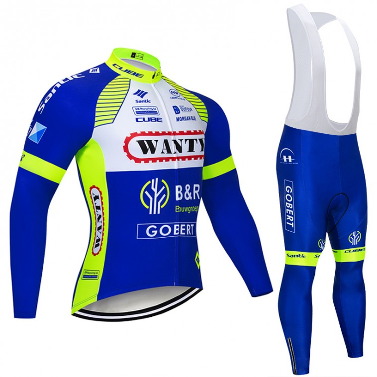 Ensemble cuissard vélo et maillot cyclisme hiver pro Wanty Gobert 2018