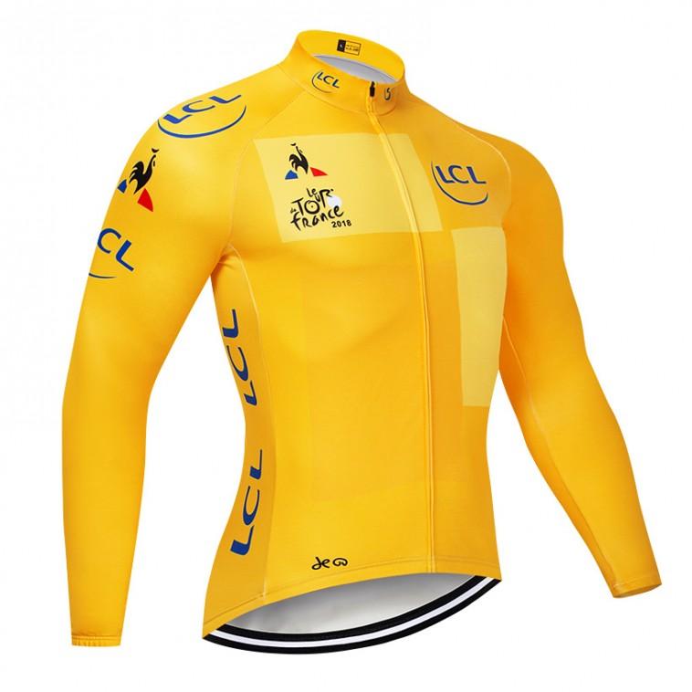 Maillot vélo hiver pro Tour de France jaune 2018 LCL
