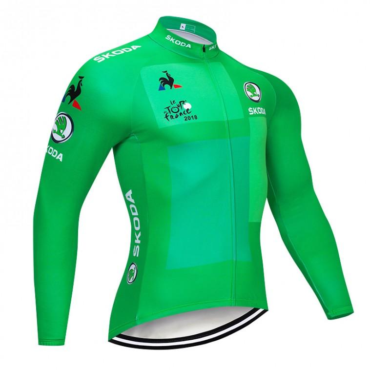Maillot vélo hiver pro Tour de France vert 2018 Skoda