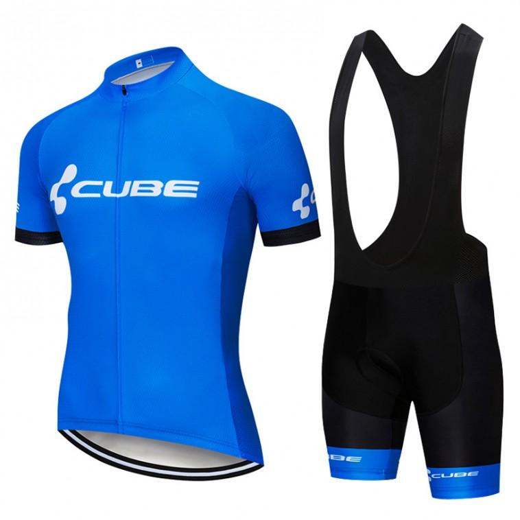 Ensemble cuissard vélo et maillot cyclisme pro CUBE 2019 bleu