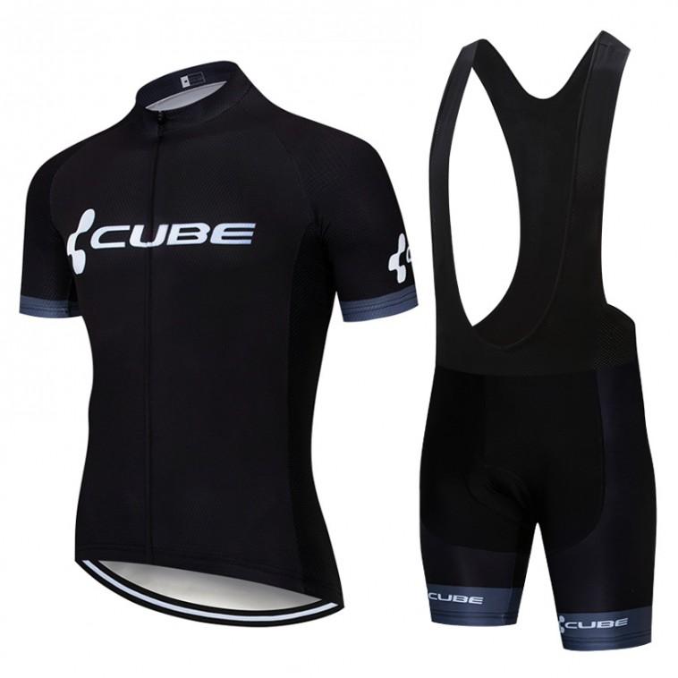 Ensemble cuissard vélo et maillot cyclisme pro CUBE 2019 noir