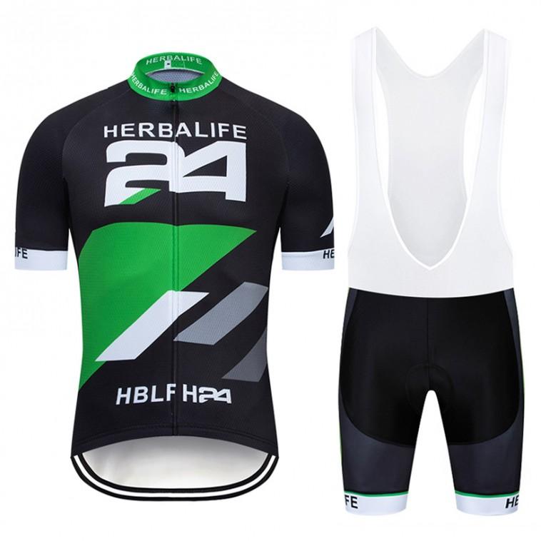 Ensemble cuissard vélo et maillot cyclisme pro HERBALIFE 2019 noir