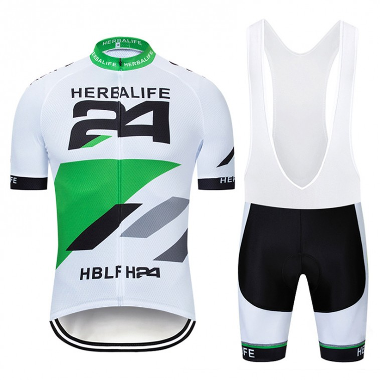 Ensemble cuissard vélo et maillot cyclisme pro HERBALIFE 2019 blanc