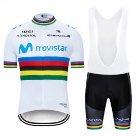 Ensemble cuissard vélo et maillot cyclisme pro MOVISTAR UCI 2019