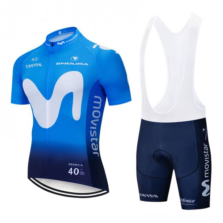Ensemble cuissard vélo et maillot cyclisme pro MOVISTAR 2019