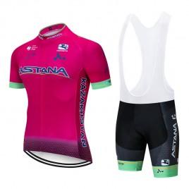Ensemble cuissard vélo et maillot cyclisme pro ASTANA 2019 rose
