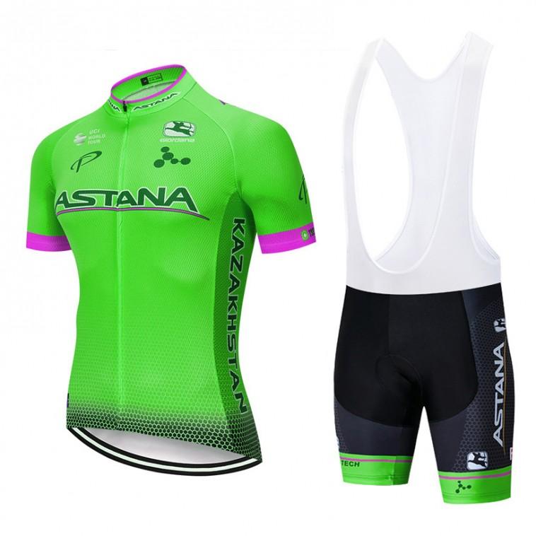 Ensemble cuissard vélo et maillot cyclisme pro ASTANA 2019 vert