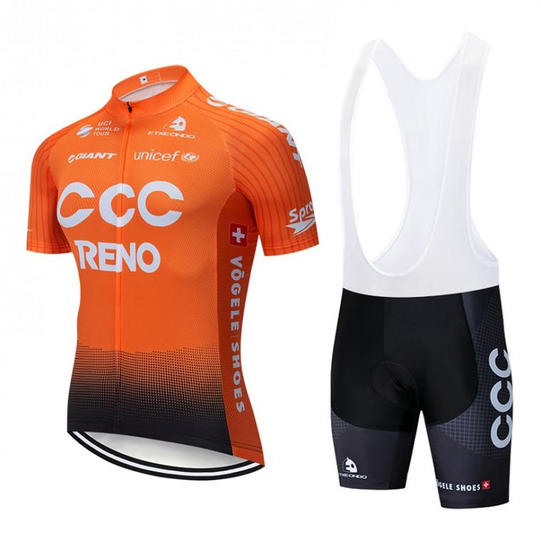 Ensemble cuissard vélo et maillot cyclisme pro CCC Reno 2019 orange