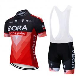 Ensemble cuissard vélo et maillot cyclisme pro BORA 2019 rouge