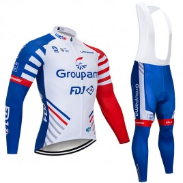 Ensemble cuissard vélo et maillot cyclisme hiver pro GROUPAMA FDJ 2019