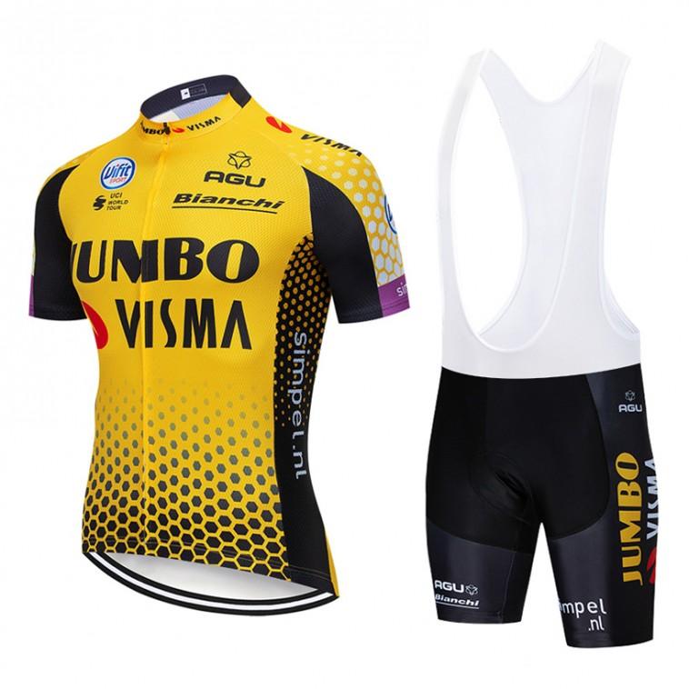 Ensemble cuissard vélo et maillot cyclisme pro Jumbo Visma 2019