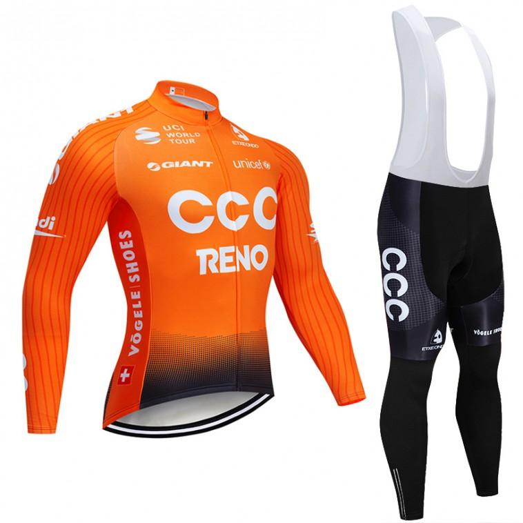 Ensemble cuissard vélo et maillot cyclisme hiver pro CCC RENO 2019