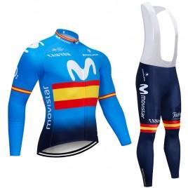 Ensemble cuissard vélo et maillot cyclisme hiver pro Movistar Espagne 2019