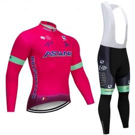 Ensemble cuissard vélo et maillot cyclisme hiver pro ASTANA Pink 2019